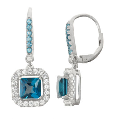 jcpenney.com | Genuine London Blue Topaz & Lab-Created White Sapphire Sterling Silver Leverback Earrings