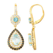 Genuine Blue Topaz & Black Spinel 14K Gold Over Silver Leverback Earrings