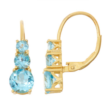 jcpenney.com | Genuine Blue Topaz 14K Gold Over Silver Leverback Earrings