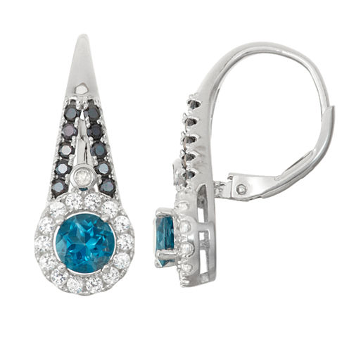 Genuine London Blue Topaz &Black Spinel Diamond Accent Sterling Silver Leverback Earrings