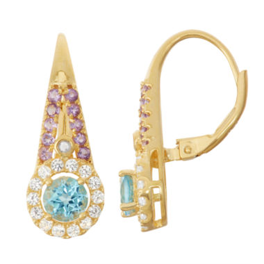jcpenney.com | Genuine Swiss Blue Topaz & Amethyst Diamond Accent 14K Gold Over Silver Leverback Earrings