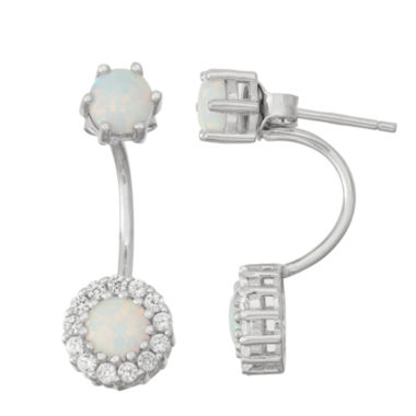 jcpenney.com | Lab-Created Opal & White Sapphire Sterling Silver Front-Back Earrings