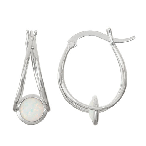 Lab-Created Opal Sterling Silver Hoop Earrings