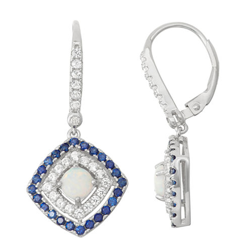 Lab-Created Opal & Sapphire Diamond Accent Sterling Silver Earrings