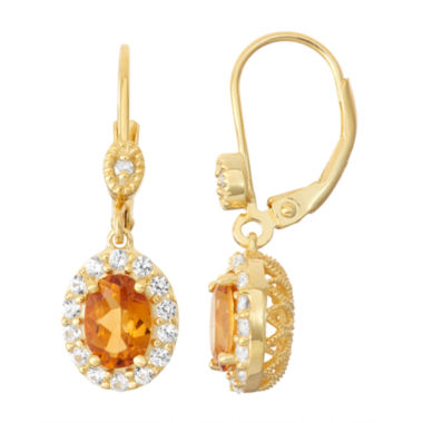 jcpenney.com | Genuine Citrine & Lab-Created White Sapphire Diamond Accent 14K Gold Over Silver Earrings