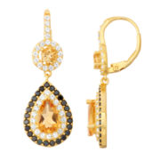 Genuine Citrine & Lab-Created Black Spinel 14K Gold Over Silver Leverback Earrings