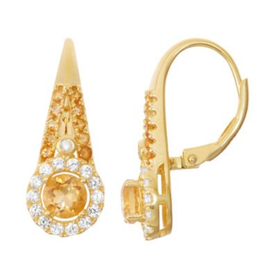 jcpenney.com | Genuine Citrine & Lab-Created White Sapphire 14K Gold Over Silver Leverback Earrings