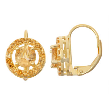 jcpenney.com | Genuine Citrine 14K Gold Over Silver Leverback Earrings