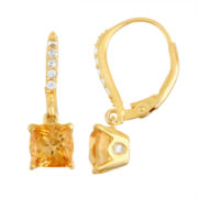 Genuine Citrine & Diamond Accent 14K Gold Over Silver Leverback Earrings