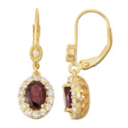 Genuine Garnet & Lab-Created White Sapphire Diamond Accent  14K Gold Over Silver Leverback Earrings