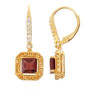 Genuine Garnet & Citrine Diamond Accent 14K Gold Over Silver Leverback Earrings