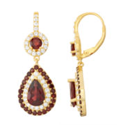 Genuine Garnet & Lab-Created White Sapphire 14K Gold Over Silver Leverback Earrings