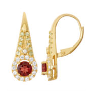 Genuine Garnet & Peridot Diamond Accent 14K Gold Over Silver Leverback Earrings