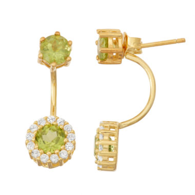 jcpenney.com | Genuine Peridot & Lab-Created White Sapphire 14K Gold Over Silver Front-Back Earrings