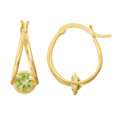jcpenney.com | Genuine Peridot 14K Gold Over Silver Hoop Earrings