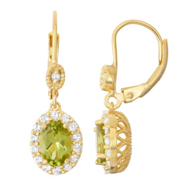 jcpenney.com | Genuine Peridot & Lab-Created White Sapphire Diamond Accent 14K Gold Over Silver Leverback Earrings
