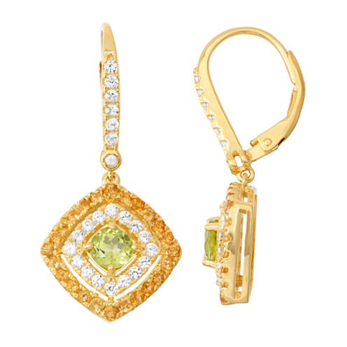 Genuine Peridot & Citrine 14K Gold Over Silver Diamond Accent Leverback Earrings