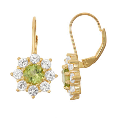 jcpenney.com | Genuine Peridot & Lab-Created White Sapphire 14K Gold Over Silver Leverback Earrings