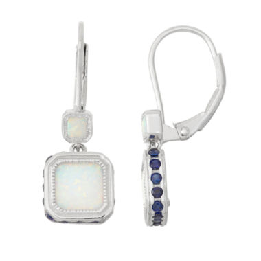 jcpenney.com | Lab-Created Opal & Sapphire Sterling Silver Leverback Earrings