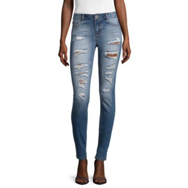 jcpenney.com | Blue Spice High Rise Roll Cuff Destructed Skinny Jeans
