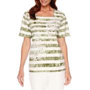 Alfred Dunner® Cyprus Short-Sleeve Stripe Tee - Petites