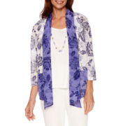 Alfred Dunner® Cyprus 3/4-Sleeve Floral Tee with Necklace - Petites