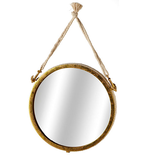 Small Gold Wall Mirror with Rope Anchors