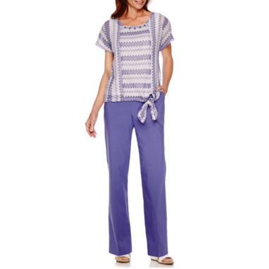 jcpenney.com | Alfred Dunner® Cyprus Cap-Sleeve Side Tie Top or Pants