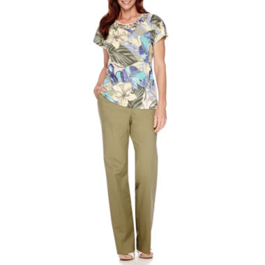 jcpenney.com | Alfred Dunner® Cyprus Cap-Sleeve Print Top or Pants