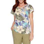 Alfred Dunner® Cyprus Cap-Sleeve Print Top