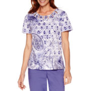 Alfred Dunner® Cyprus Short-Sleeve Paisley Print Top