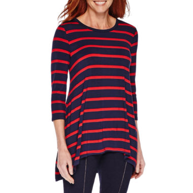 jcpenney.com | Sag Harbor® Blue Shades 3/4-Sleeve Stripe Tunic Top