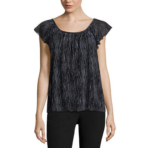 Worthington® Flutter-Sleeve Scoop Blouse - Tall
