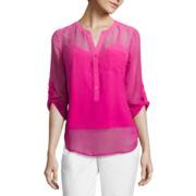 Liz Claiborne® 3/4-Sleeve Dip Dye Woven Shirt