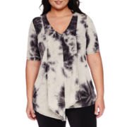 Alyx® Elbow-Sleeve Asymmetrical-Hem Tie-Dye Top - Plus
