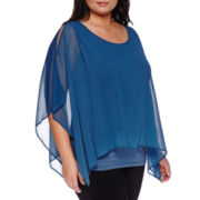 Alyx® Short-Sleeve Cold-Shoulder Poncho Popover - Plus