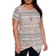 Alyx® Short-Sleeve Asymmetrical Printed Knit Top - Plus