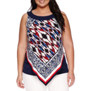 Alyx® Sleeveless Scarf-Print Popover Top - Plus