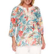 Alfred Dunner® Cozumel 3/4-Sleeve Tropical Tunic - Plus