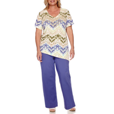 jcpenney.com | Alfred Dunner® Cyprus Short-Sleeve Asymmetrical Tee or Pull-On Cropped Pants - Plus