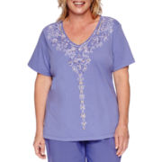 Alfred Dunner® Cyprus Short-Sleeve Beaded Applique Tee - Plus