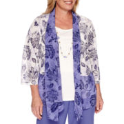 Alfred Dunner® Cyprus 3/4-Sleeve Floral Top with Necklace - Plus