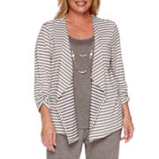 Alfred Dunner® Acadia 3/4-Sleeve Striped Layered Necklace Top - Plus