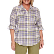 Alfred Dunner® Cyprus Plaid Roll-Sleeve Button-Front Shirt - Plus