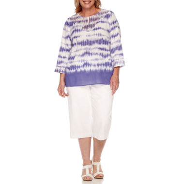 jcpenney.com | Alfred Dunner® Cyprus 3/4-Sleeve Tie-Dye Lace Detail Tunic or Cotton Capris -Plus