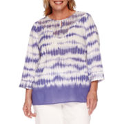 Alfred Dunner® Cyprus 3/4-Sleeve Tie-Dye Lace Detail Tunic - Plus