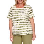 Alfred Dunner® Cyprus Short-Sleeve Stripe Beaded Tee - Plus