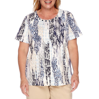 jcpenney.com | Alfred Dunner® Classic Short-Sleeve Beaded Tee - Plus