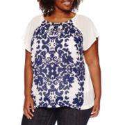 Liz Claiborne® Short-Sleeve Raglan Tee with Cami - Plus