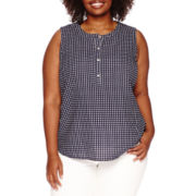 Liz Claiborne® Sleeveless Dot Henley Popover - Plus